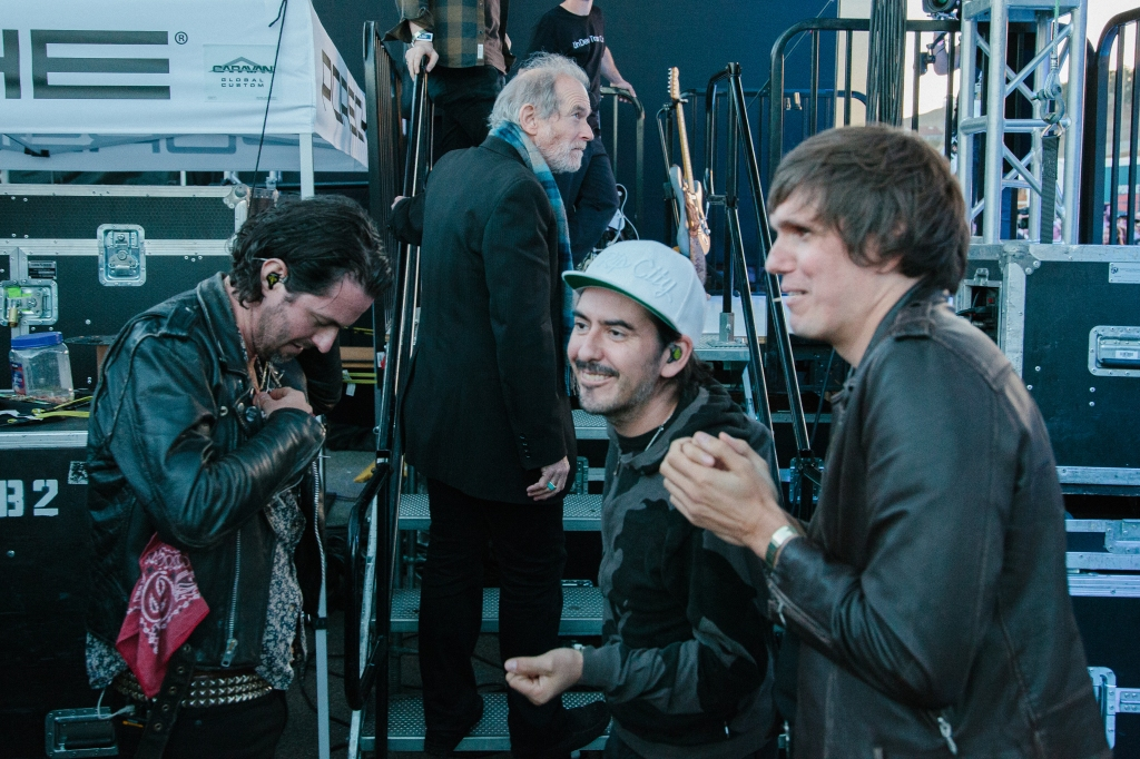 Noah Harmon, Benmont Tench, Dhani Harrison and Nikolai Fraiture backstage during soundcheck for the Rennsport Reunion.
