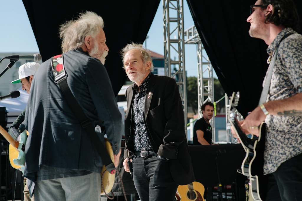 Bob Weir, Benmont Tench and Noah Harmon during soundcheck.