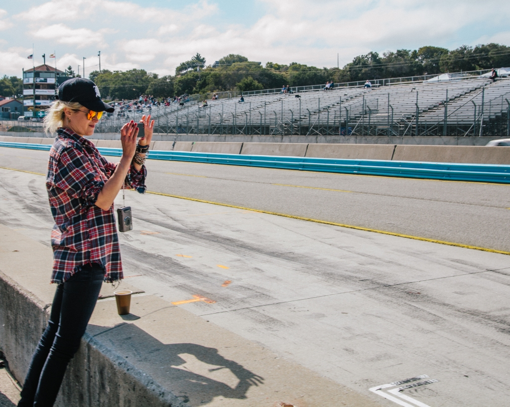 Allison Mosshart checks out the racetrack