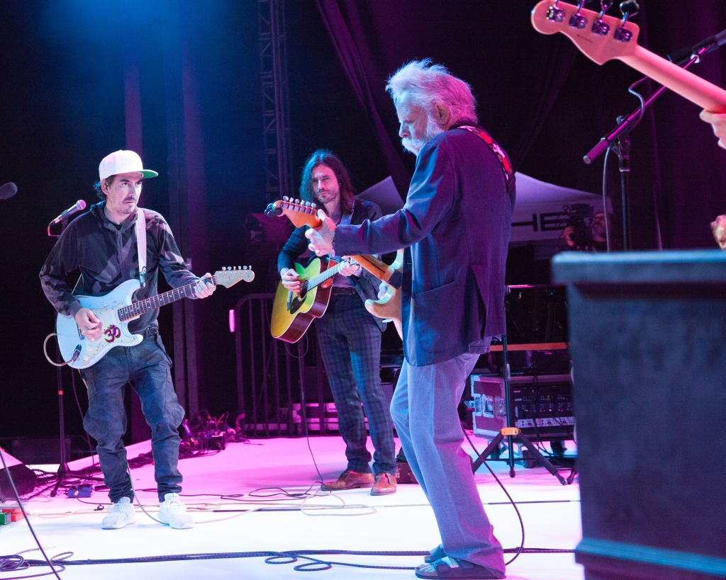 Dhani Harrison, Brian Bell and Bob Weir getting in the groove.