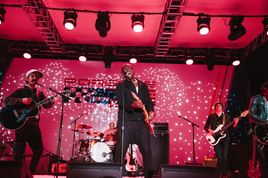Dhani Harrison, Steve Ferrone, Seal and Nikolai Fraiture perform at the Rennsport Reunion.