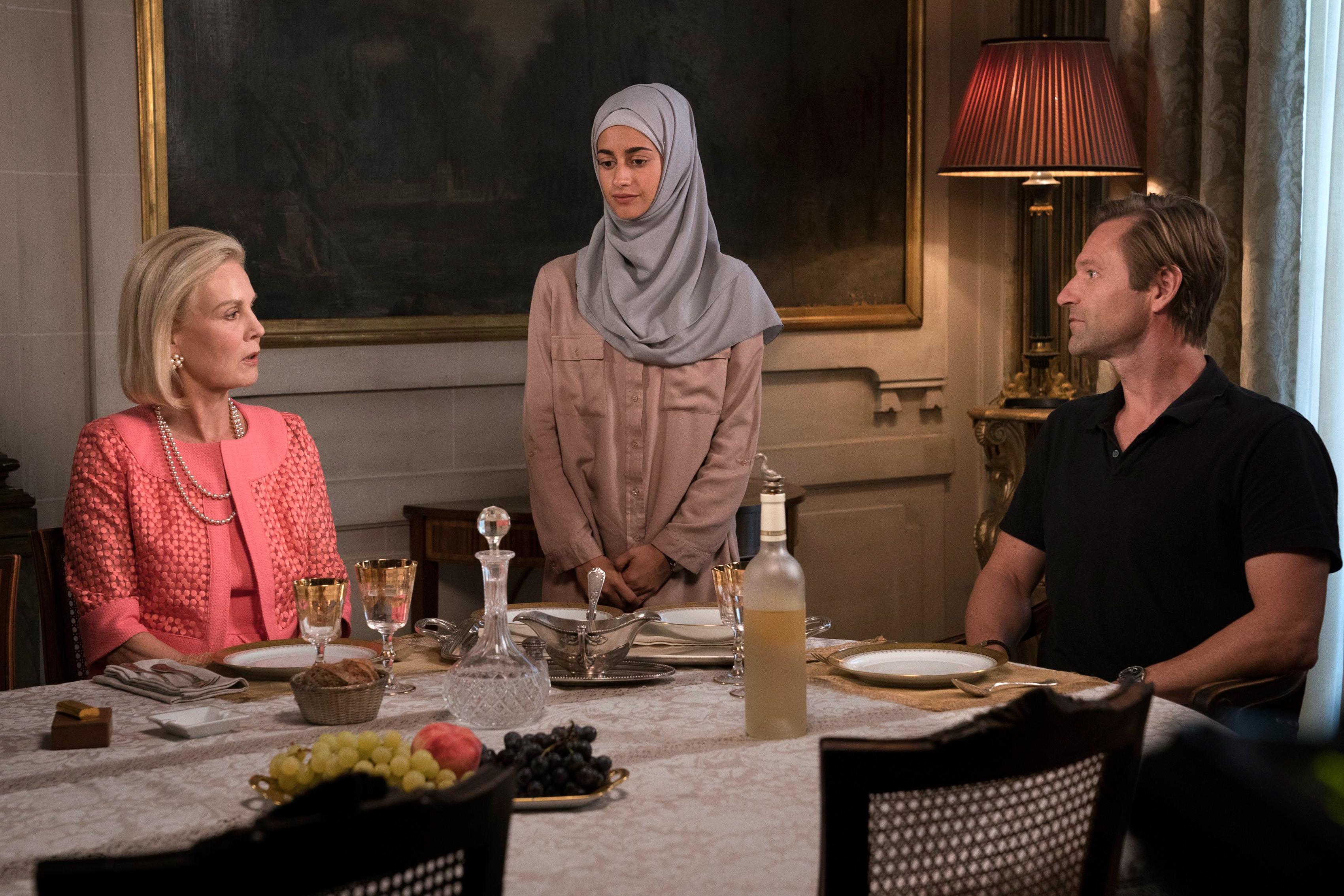 """Marthe Keller, Ines Melab, and Aaron Eckhart in """"The Romanoffs"""""""