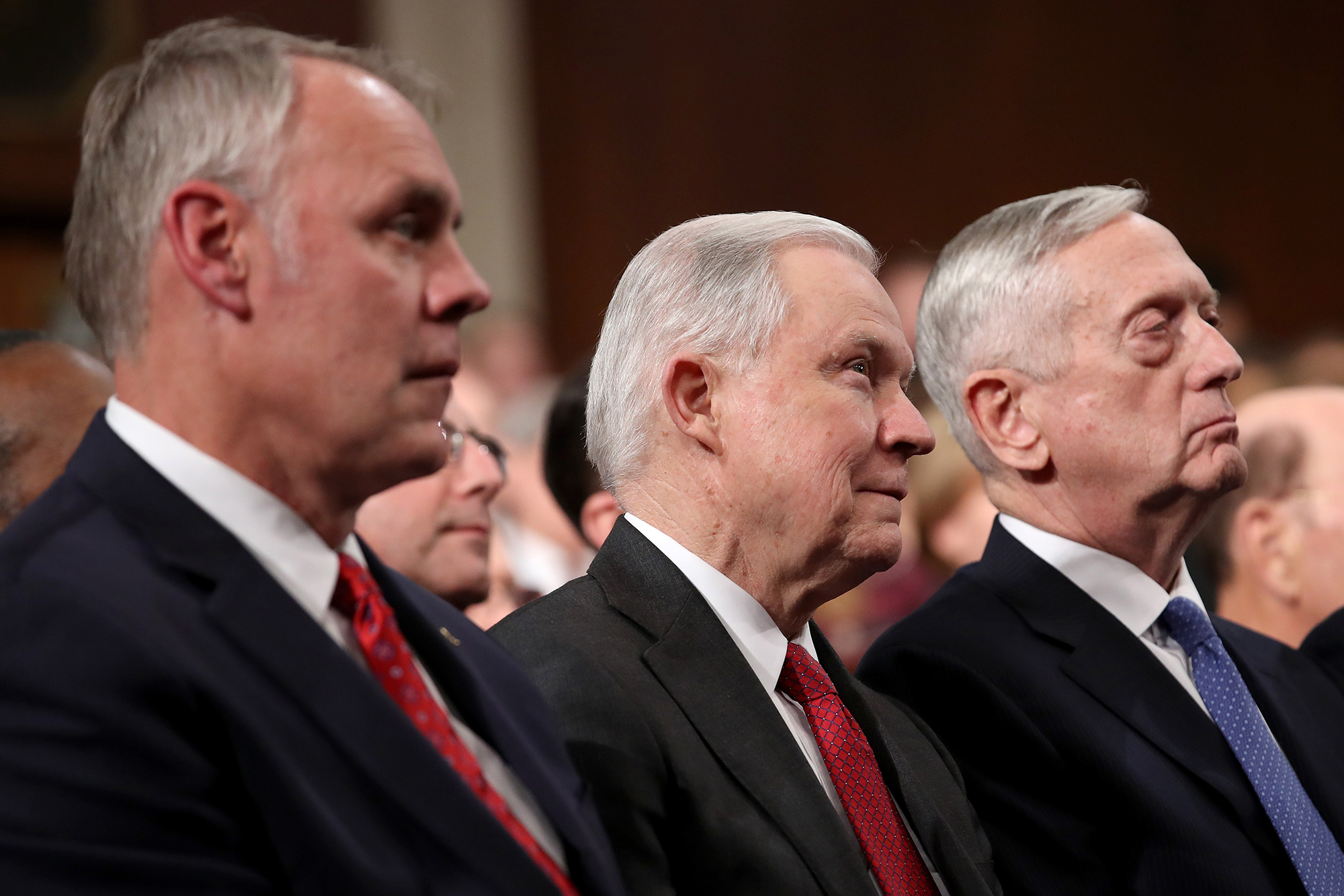 (L-R) Secretary of the Interior Ryan Zinke, US Attoney General Jeff Sessions, and US Secretary of Defense Jim Mattis watch the State of the Union address in the chamber of the US House of Representatives in Washington, DC, USA, 30 January 2018. This is the first State of the Union address given by US President Donald J. Trump and his second joint-session address to Congress.US President Donald J. Trump delivers his State of the Union to Congress, Washington, USA - 30 Jan 2018