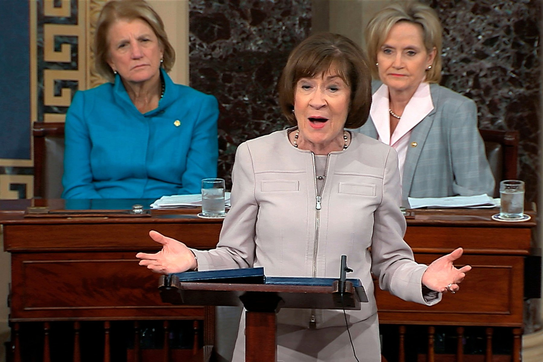 In this image from video provided by Senate TV, Sen. Susan Collins, R-Maine., speaks on the Senate floor about her vote on Supreme Court nominee Judge Brett Kananaugh, in the Capitol in WashingtonSupreme Court Kavanaugh, Washington, USA - 05 Oct 2018