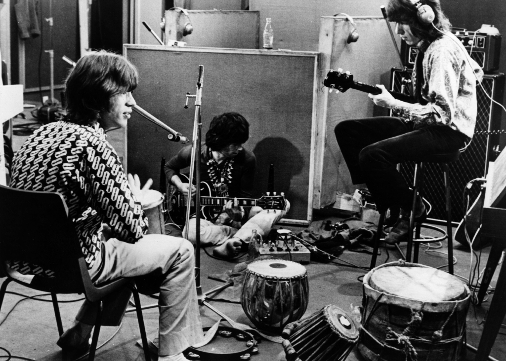 The Rolling Stones recording their hit 'Sympathy For The Devil', a mammoth recording session that would be turned by film director Jean-Luc Godard into a film entitled 'One Plus One', also titled 'Sympathy for the Devil'. Original Publication: People Disc - HW0629 (Photo by Keystone Features/Getty Images)