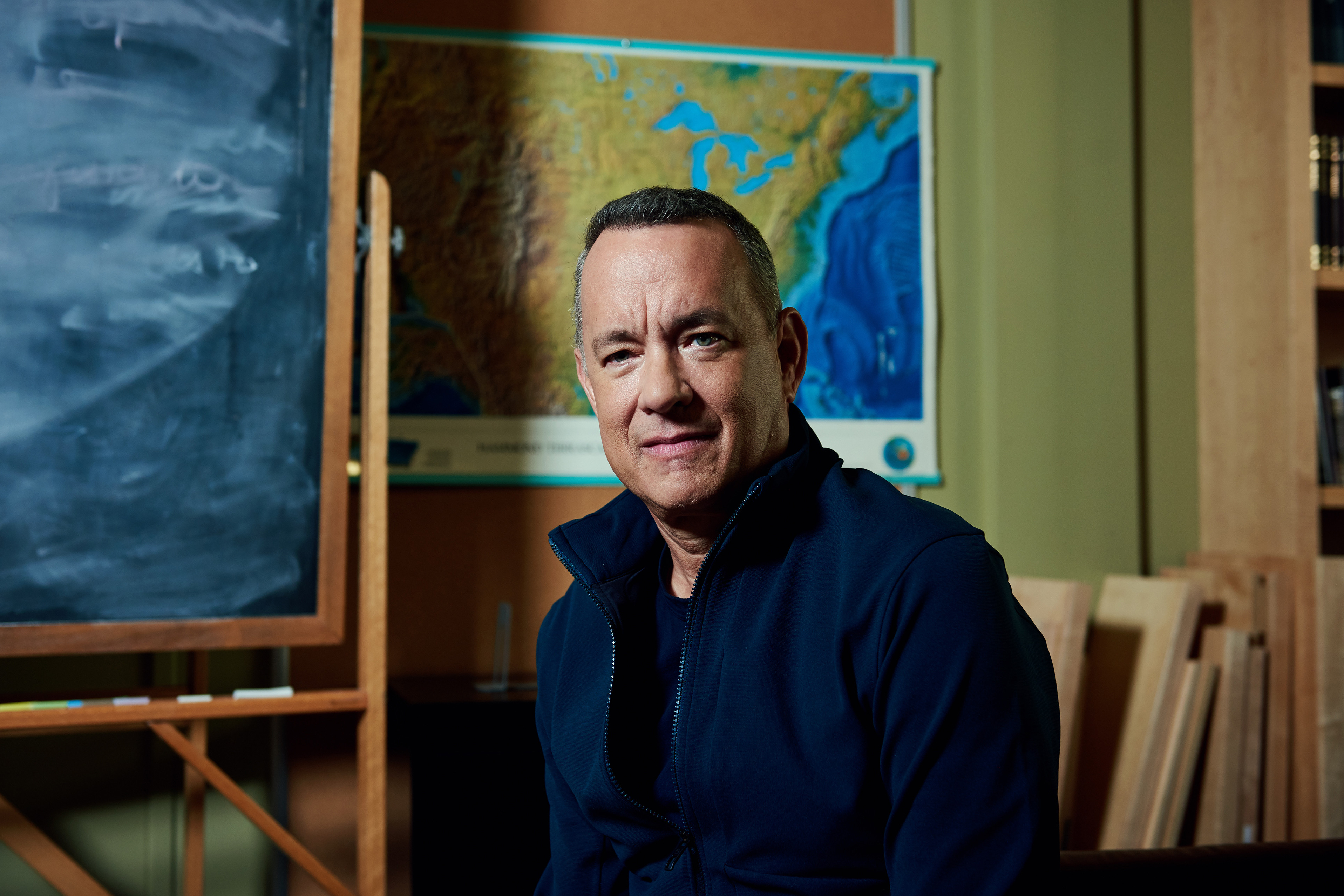 """Tom Hanks, who has a book of short stories called """"Uncommon Type"""" out this month, at his office in Santa Monica, Calif., Oct. 6, 2017. The title refers to his love of vintage typewriters. (Jake Michaels/The New York Times)"""