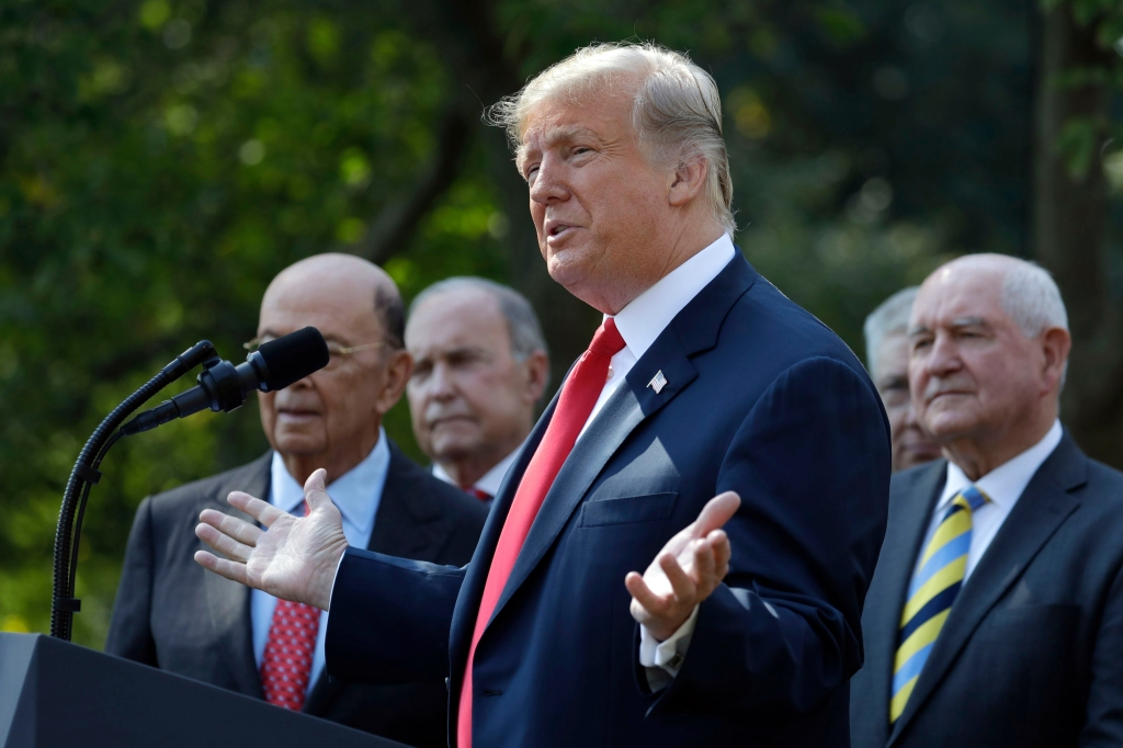 President Donald Trump delivers remarks on trade between the United States, Canada, and Mexico, in the Rose Garden of the White House, in WashingtonNorth America Trade Trump, Washington, USA - 01 Oct 2018