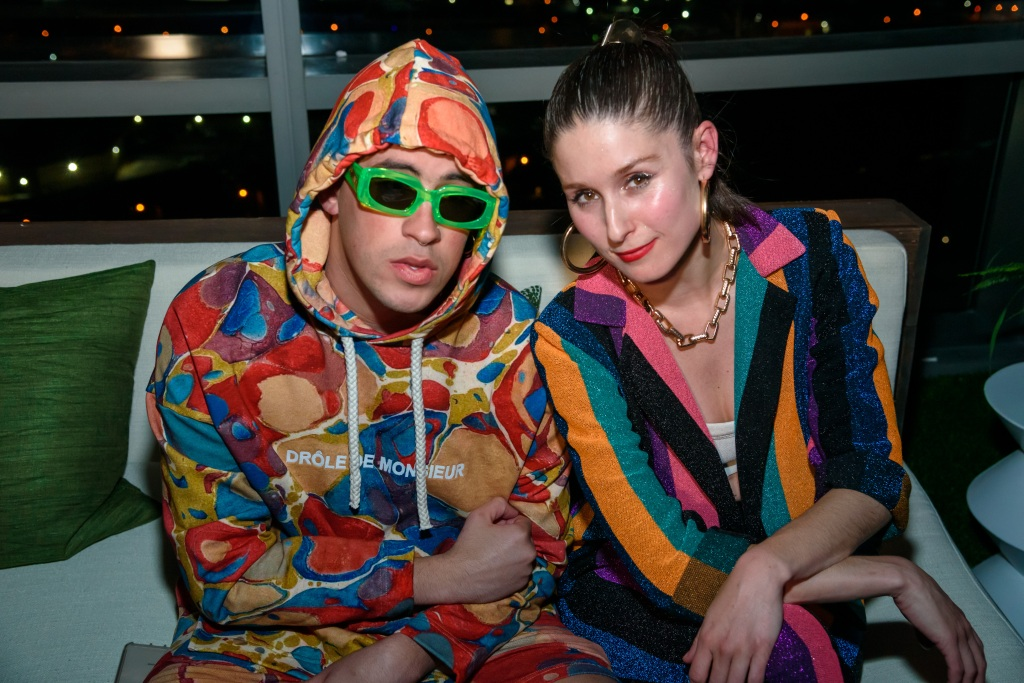 Grammy nominee Bad Bunny steals a photo op with Francisca Valenzuela.