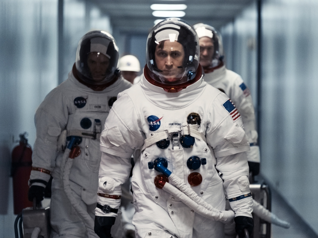 "(L to R) LUKAS HAAS as Mike Collins, RYAN GOSLING as Neil Armstrong and COREY STOLL as Buzz Aldrin in ""First Man,"" directed by Oscar®-winning filmmaker Damien Chazelle (""La La Land"")."