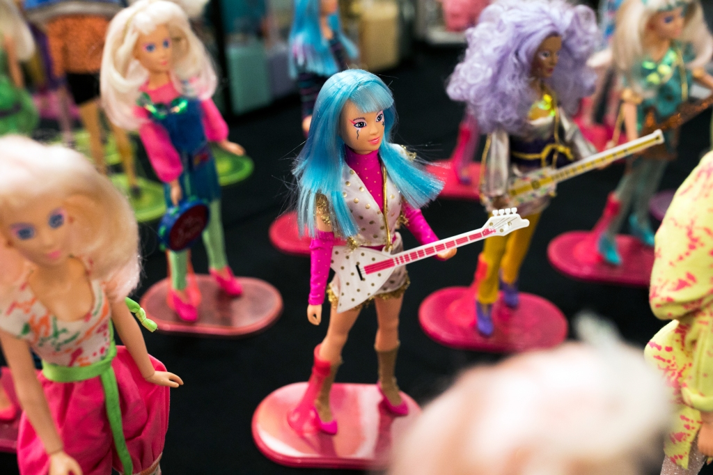 Jem dolls are displayed on a table at JemCon on August 26, 2018 in Westlake, OH. JemCon is a convention for fans of a popular 1980s cartoon show about a female rockstar and her business woman alter ego.