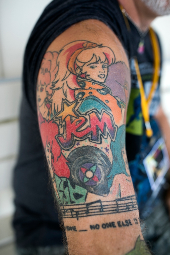 Will Edwardson shows his Jem tattoo at JemCon on August 26, 2018 in Westlake, OH. JemCon is a convention for fans of a popular 1980s cartoon show about a female rockstar and her business woman alter ego.