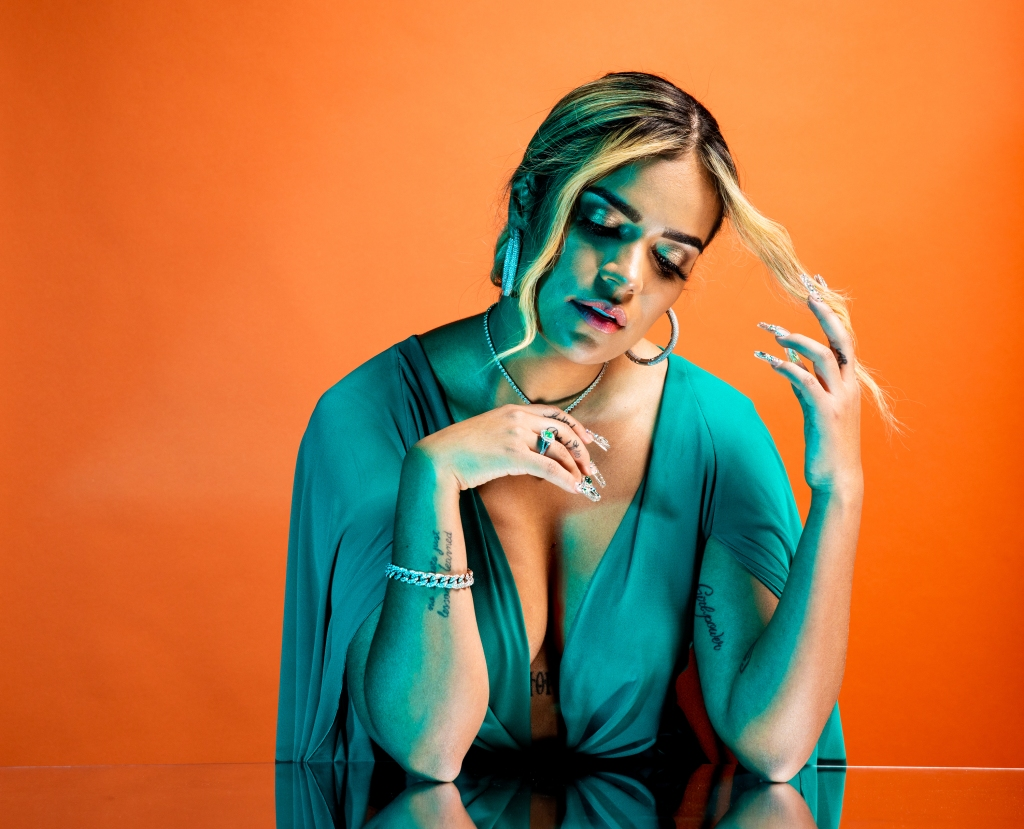 Karol G poses for a portrait backstage at the 19th annual Latin Grammy Awards at the MGM Garden Arena on November 15, 2018 in Las Vegas, NV.
