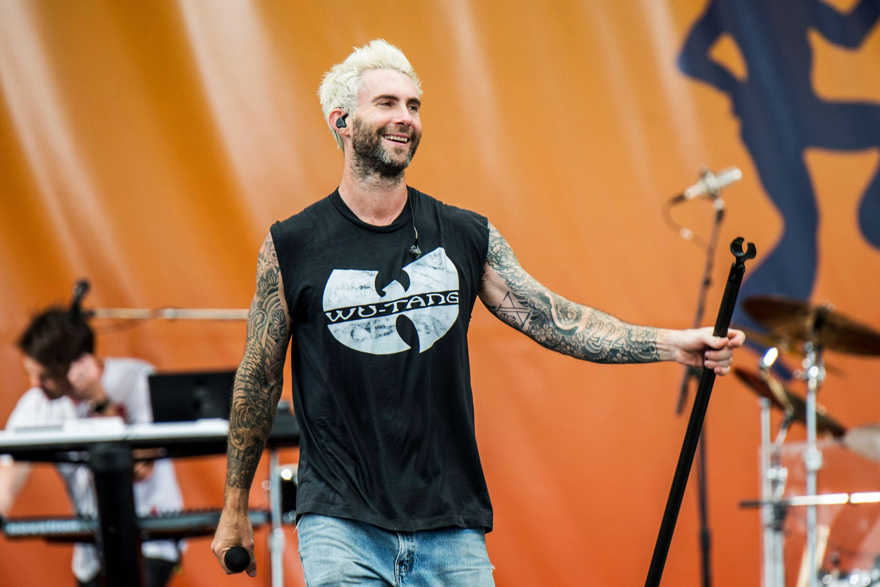 Adam Levine of Maroon 5 performs at the New Orleans Jazz and Heritage Festival, in New Orleans, April 29, 2017.
