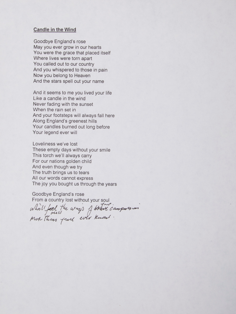 "Bernie Taupin's lyrics for ""Candle In The Wind"", up for auction. Photo Julien's Auctions"