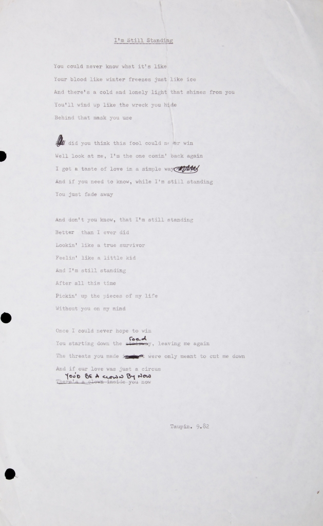 "Bernie Taupin's lyrics for ""I'm Still Standing"", up for auction. Photo: Julien's Auctions"