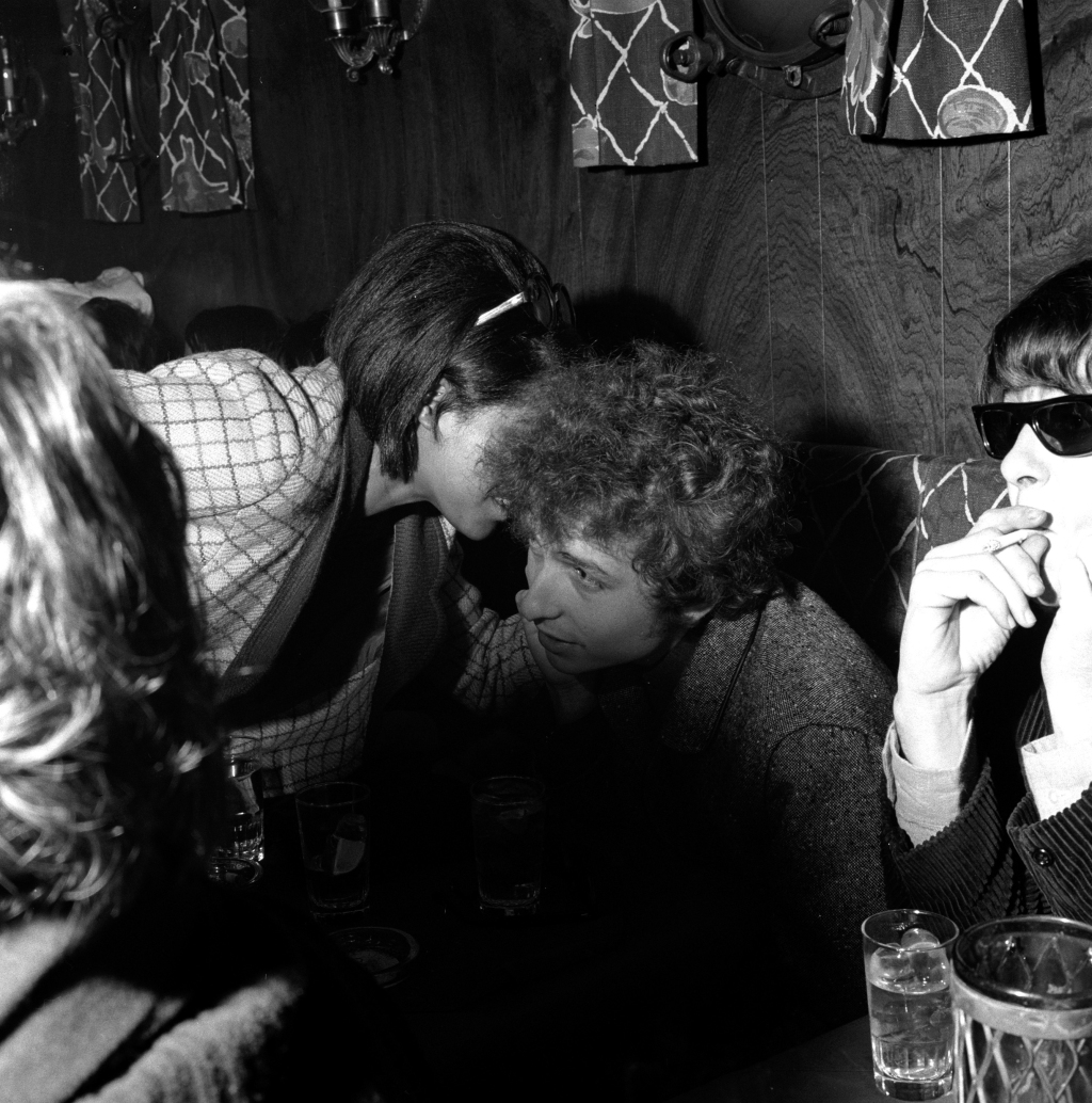 "Schatzberg was co-owner of a popular New York nightstop called Ondine's, which hosted legendary gigs by Buffalo Springfield, the Doors and Jimi Hendrix before they became famous. Dylan is seen here hanging out with friends. ""He loved going there to hear music,"" says Schatzberg. ""We were quite the thing for a dime."""