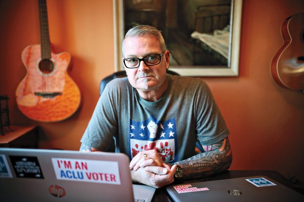 James Reader sits at his home in San Diego, CA on Friday, November 2, 2018. Reader had a political Facebook sight that was shut down by administrators.(Photo by Sandy Huffaker for Rolling Stone)