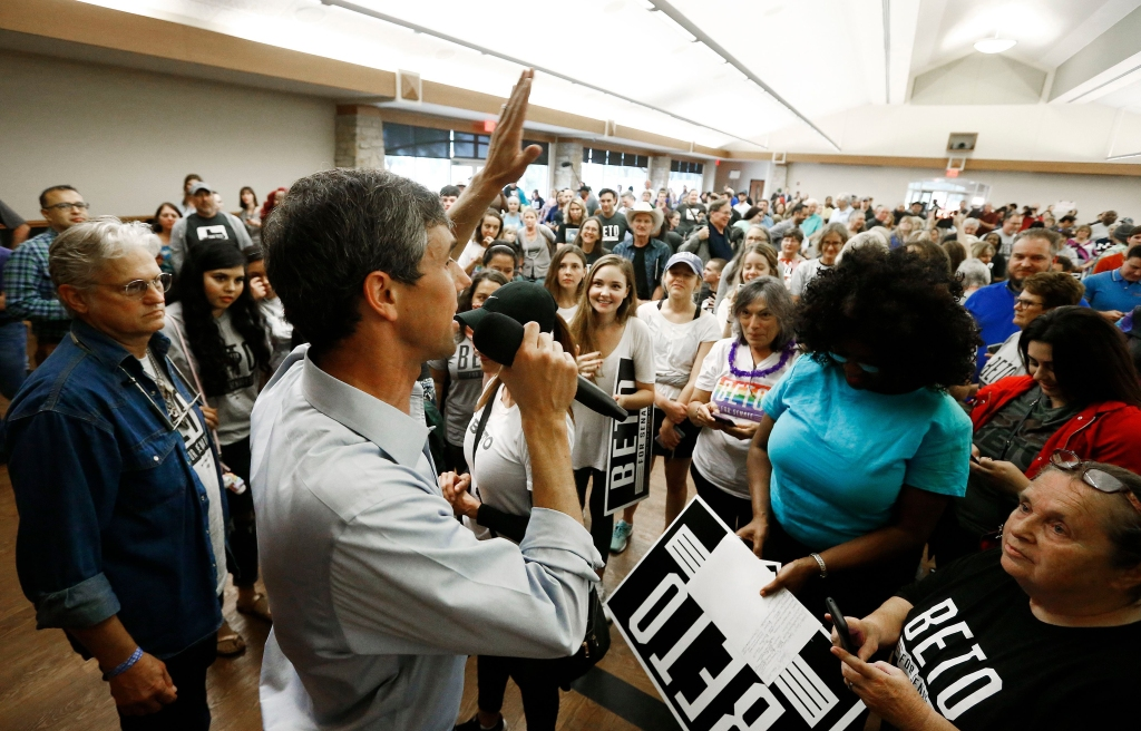 Candidate for the US Senate Beto O'Rourke (L) talks to supporters at a rally inside Knox Hall at the Texas Ranger Hall of Fame and Museum in Waco, Texas, USA, 31 October 2018. Beto O'Rouke is running against Senator Ted Cruz for Senate.Candidate for the U.S. Senate Beto O'Rourke talks to supporters at a Rally, Waco, USA - 31 Oct 2018