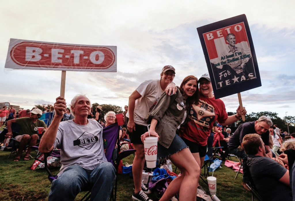 Supporters wait for US Senate candidate Beto O'Rourke at a Turn Out For Texas Rally with country music legend Willie Nelson in Austin, Texas, USA, 29 September 2018. Beto O'Rouke is running against Senator Ted Cruz for Senate.Turn Out For Texas Rally with Willie Nelson, Austin, USA - 29 Sep 2018