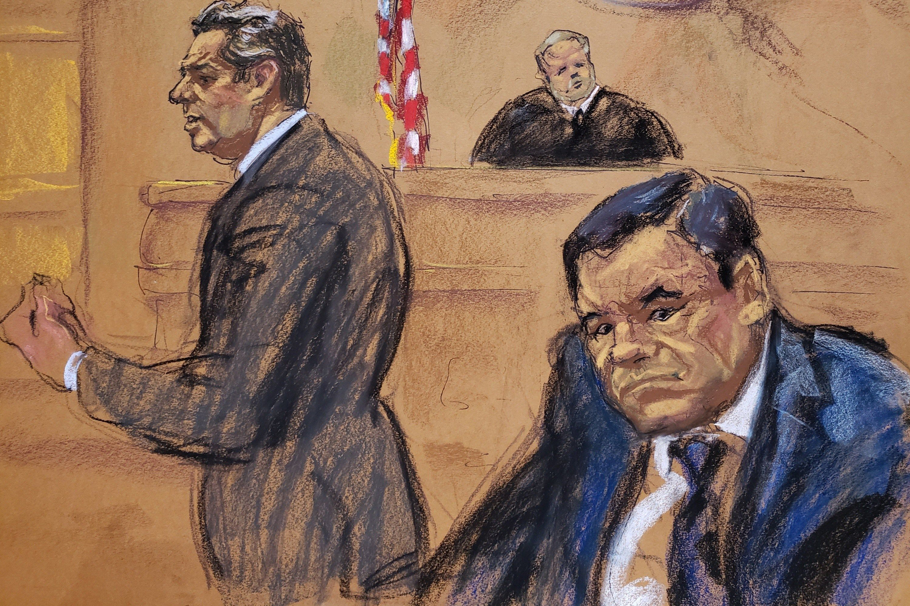 Image result for el chapo trial sketch