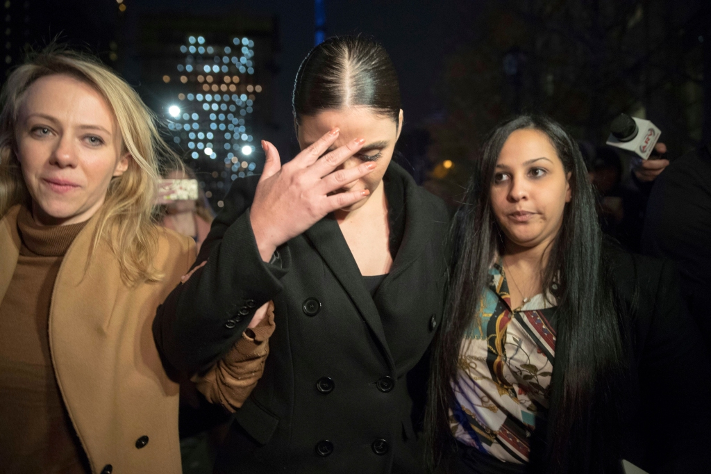 """Emma Coronel, center, the wife of Joaquin """"El Chapo"""" Guzman leaves Brooklyn Federal court after opening arguments in the trial of the Mexican drug lord known as """"El Chapo,"""", in New YorkEl Chapo Prosecution, New York, USA - 13 Nov 2018"""
