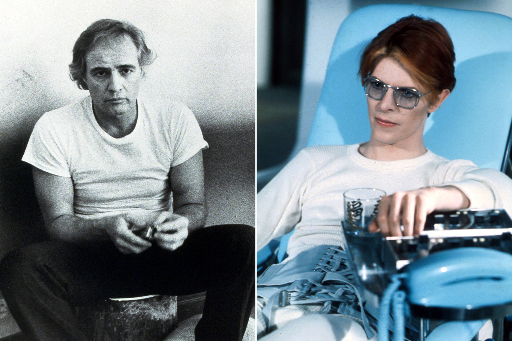 "Marlon Brando in ""Last Tango in Paris"" and David Bowie in ""The Man Who Fell To Earth"""