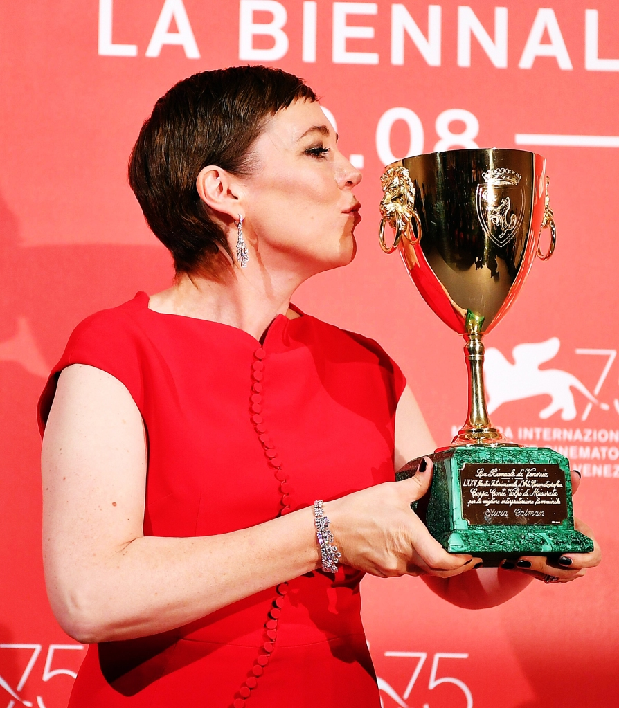 British actress Olivia Colman holds the Coppa Volpi Best Actress award for 'The Favourite' during the awarding ceremony of the 75th annual Venice International Film Festival, in Venice, Italy, 08 September 2018. The festival runs from 29 August to 08 September.Awards and Closing Ceremony - 75th Venice International Film Festival, Italy - 08 Sep 2018