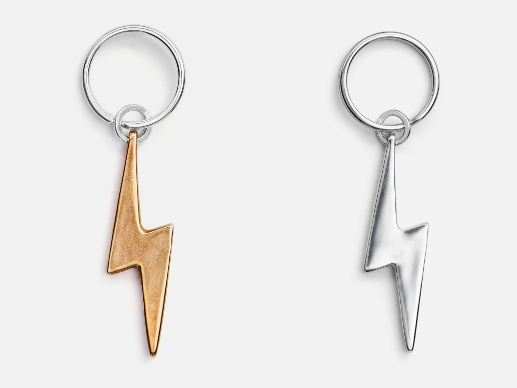 This custom-engraved bronze Bolt Keychain is created by New York-based-sculptor and jewelry-designer Jill Platner, a favorite of local rock stars and stylish hipsters. jillplatner.com $285