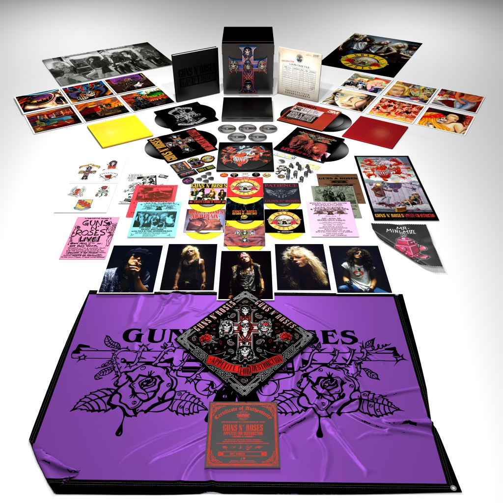 "GNR's 1987 debut on CD and vinyl, plus demos and live tracks. The ""Locked N' Loaded"" edition comes with a turntable mat and -replica concert tickets. GNRmerch.com $799"