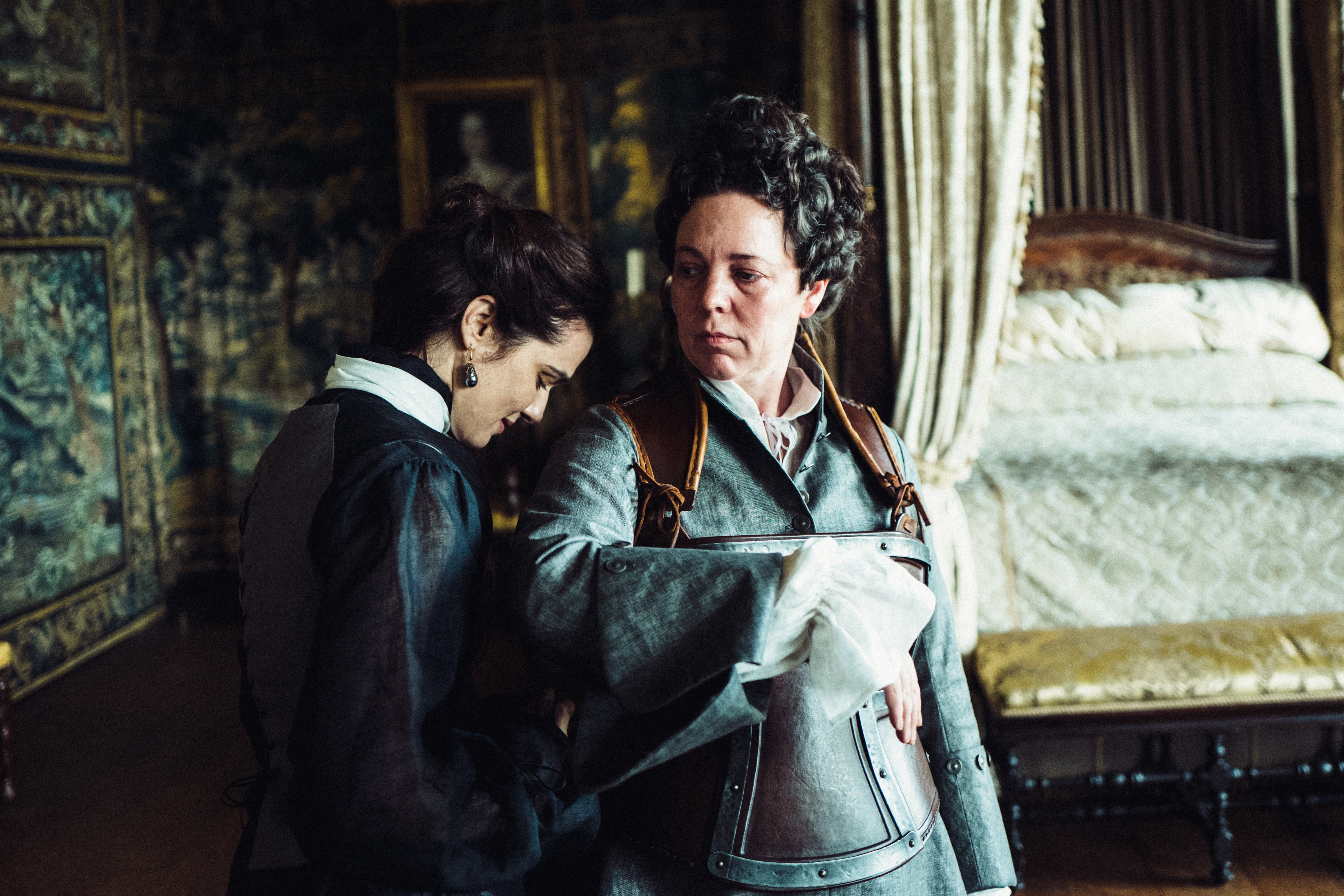 Rachel Weisz and Olivia Colman in the film THE FAVOURITE. Photo by Yorgos  Lanthimos.