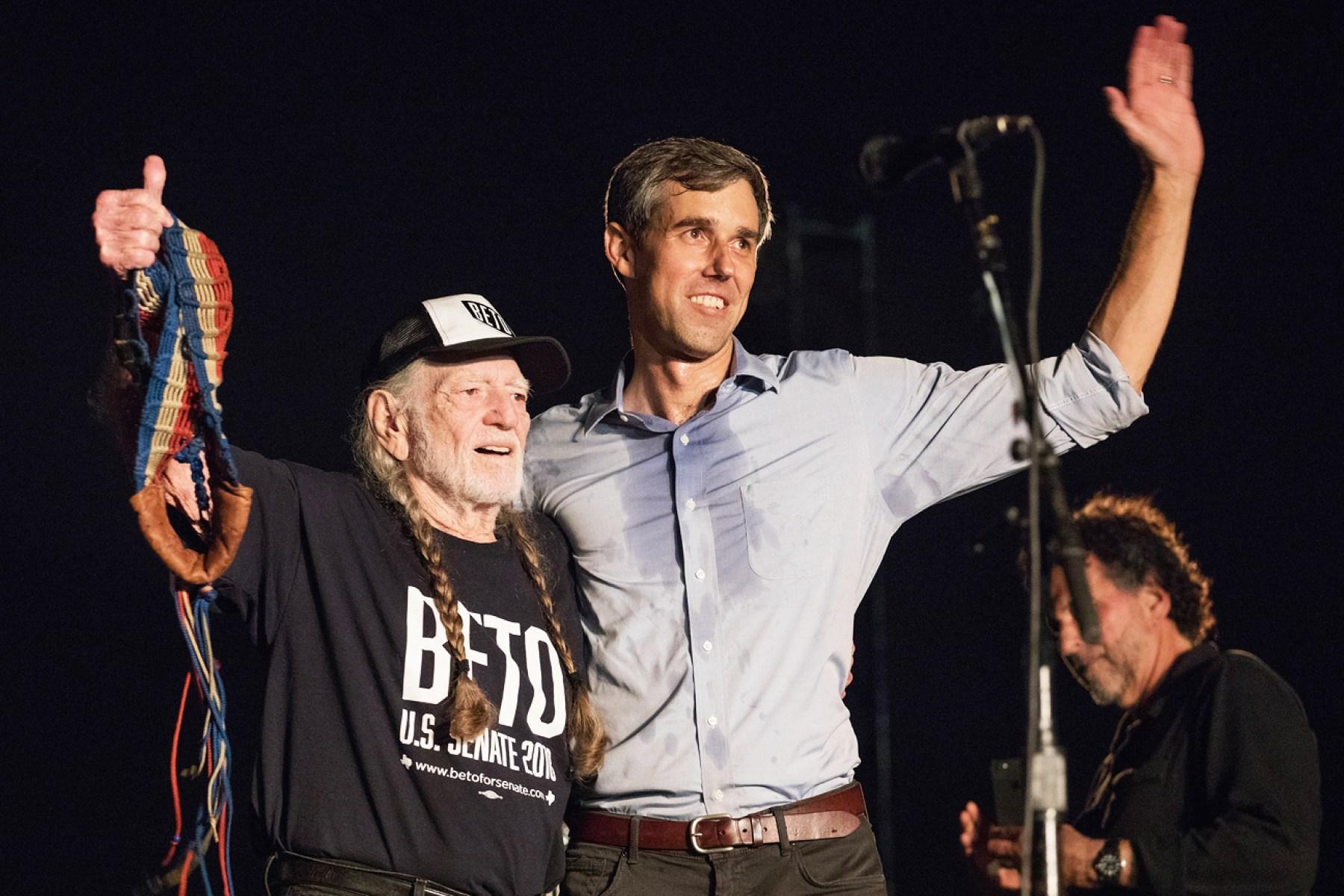 Willie Nelson and Beto O'Rourke on September 29, 2018 in Austin, Texas.