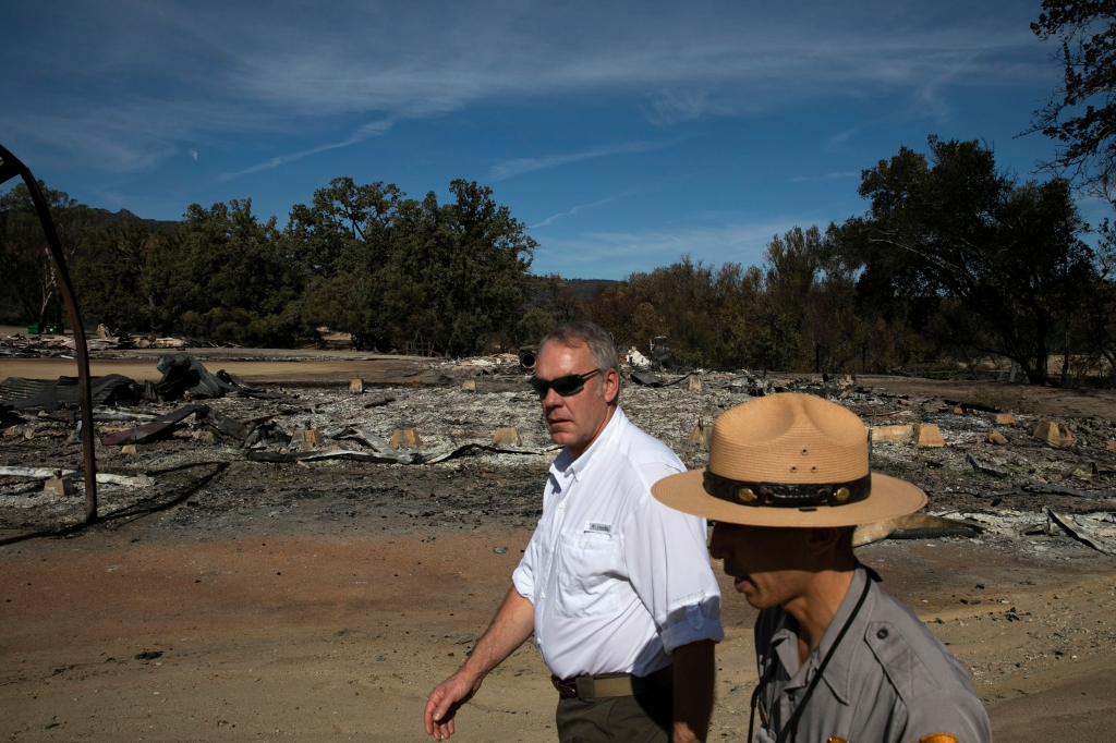 U.S. Secretary of the Interior Ryan Zinke, center, visits decimated Paramount Ranch, in Agoura Hills, Calif. The landmark film location was burned to the ground by the Woolsey FireSouthern California Wildfires, Agoura Hills, USA - 15 Nov 2018
