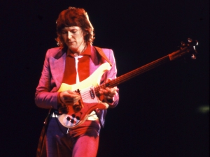 Chris Squire plays bass during a Yes concert in Champaign, Ill., 1979.