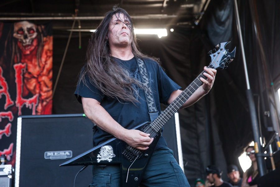 SAN BERNARDINO, CA - JULY 05:  Guitarist Patrick O'Brien of Cannibal Corpse performs at the Rockstar Energy Mayhem Festival on July 5, 2014 in San Bernardino, California.  (Photo by Chelsea Lauren/WireImage)