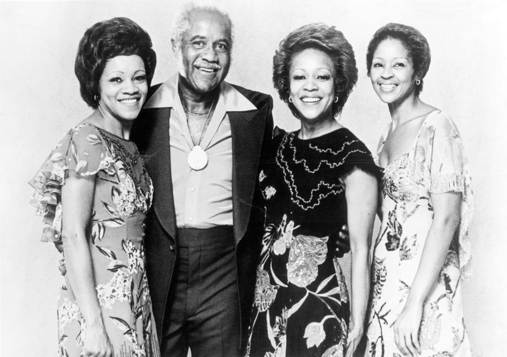 From Left: Mavis Staples, Pops Staples, Cleotha Staples and Yvonne Staples of the Staple Singers pose for a portrait in 1977. Yvonne provided background vocals on 1970s hits from funky family gospel outfit. She died in April at the age of 80.