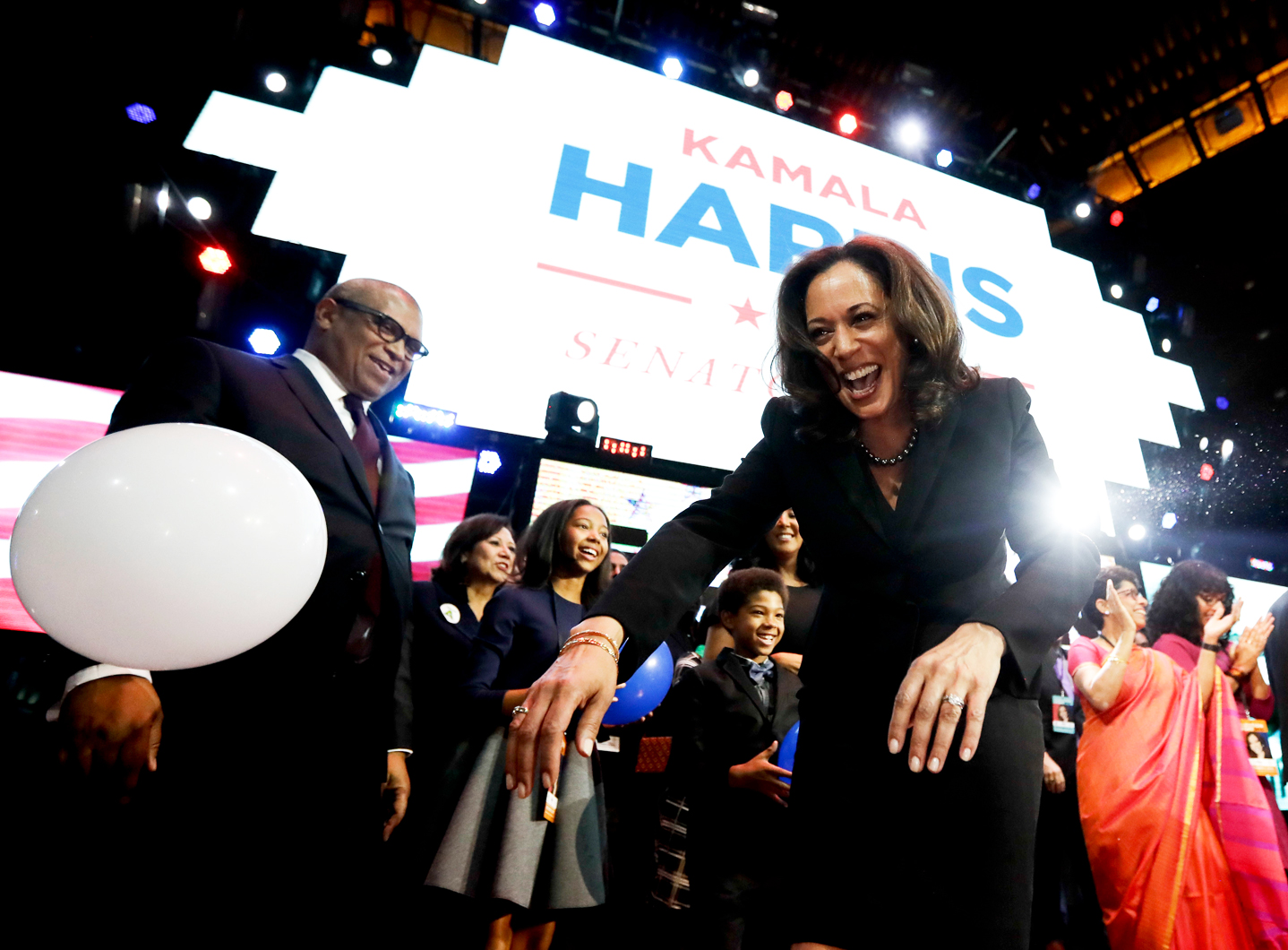 Sen. Kamala Harris greets supporters at an election night victory rally in Los Angeles, Nov. 9, 2016.