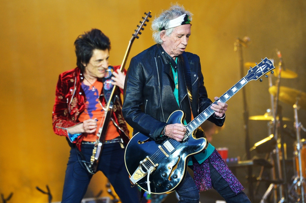 Ronnie Wood and Keith Richards of The Rolling Stones on June 19, 2018 in London, England.