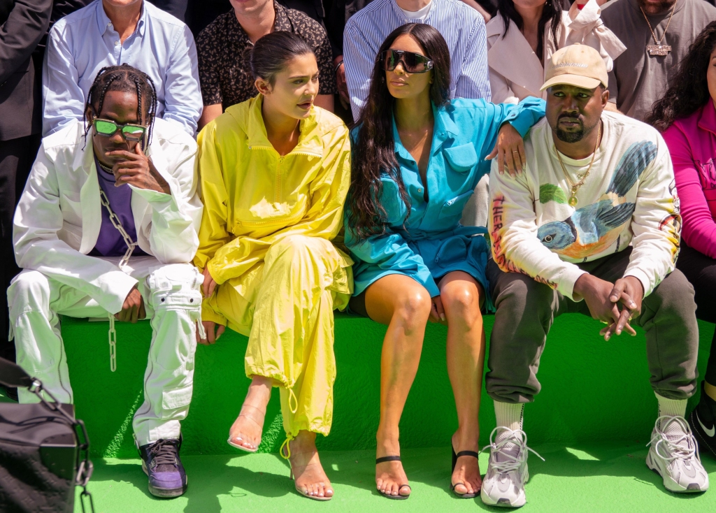 Travis Scott Kylie Jenner Kim Kardashian And Kanye WestLouis Vuitton Show Front Row