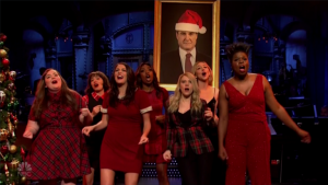 SNL parodies Wham, mariah carey xmas songs