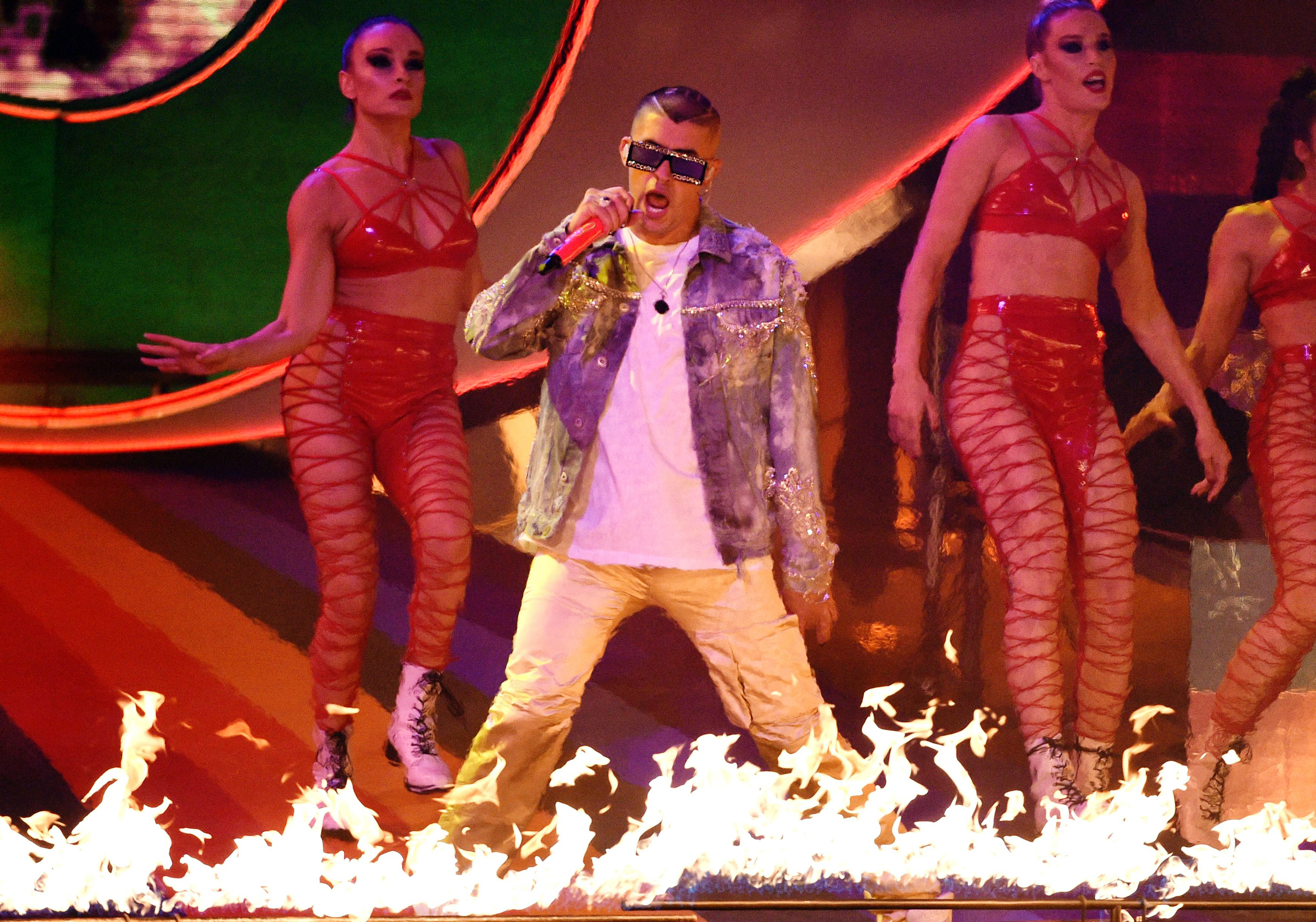 7f54c76e Bad Bunny performs at the Latin Grammy Awards, at the MGM Grand Garden  Arena in