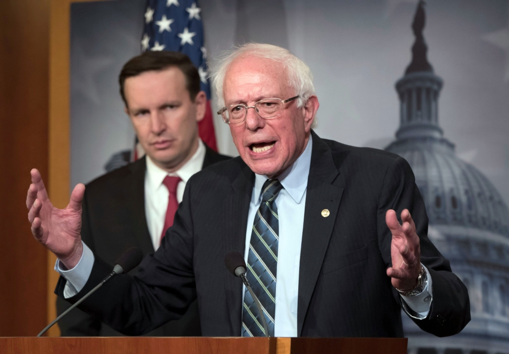 Bernie Sanders, Chris Murphy. Sen. Bernie Sanders, I-Vt., joined at left by Sen. Chris Murphy, D-Conn., holds a news conference after the Senate passed a resolution he introduced that would pull assistance from the Saudi-led war in Yemen, a measure to rebuke Saudi Arabia after the killing of journalist Jamal Khashoggi, at the Capitol in WashingtonCongress Saudi Arabia, Washington, USA - 13 Dec 2018