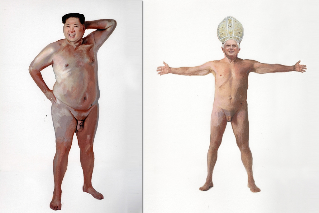Kim Jong Un and Pope Benedict. Paintings by Ilma Gore