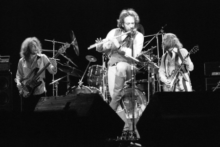 Ian Anderson with Jethro Tull in concert at the Hammersmith Odeon, London, Feb. 11, 1977.