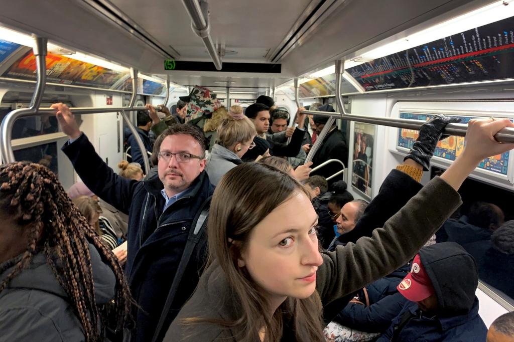 Commuters ride in a subway during the morning rush hour, in New YorkDaily Life, New York, USA - 15 Nov 2018