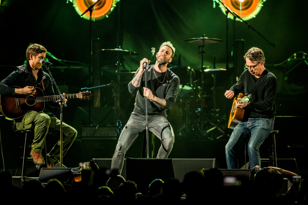 "Adam Levine, Stone Gossard & Jesse Carmichael perform during the ""I am the Highway: A Tribute to Chris Cornell"" tribute concert at the Forum in Los Angeles on January 16th, 2019."