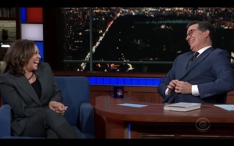 Kamala Harris Teases Presidential Run Announcement on 'Colbert'