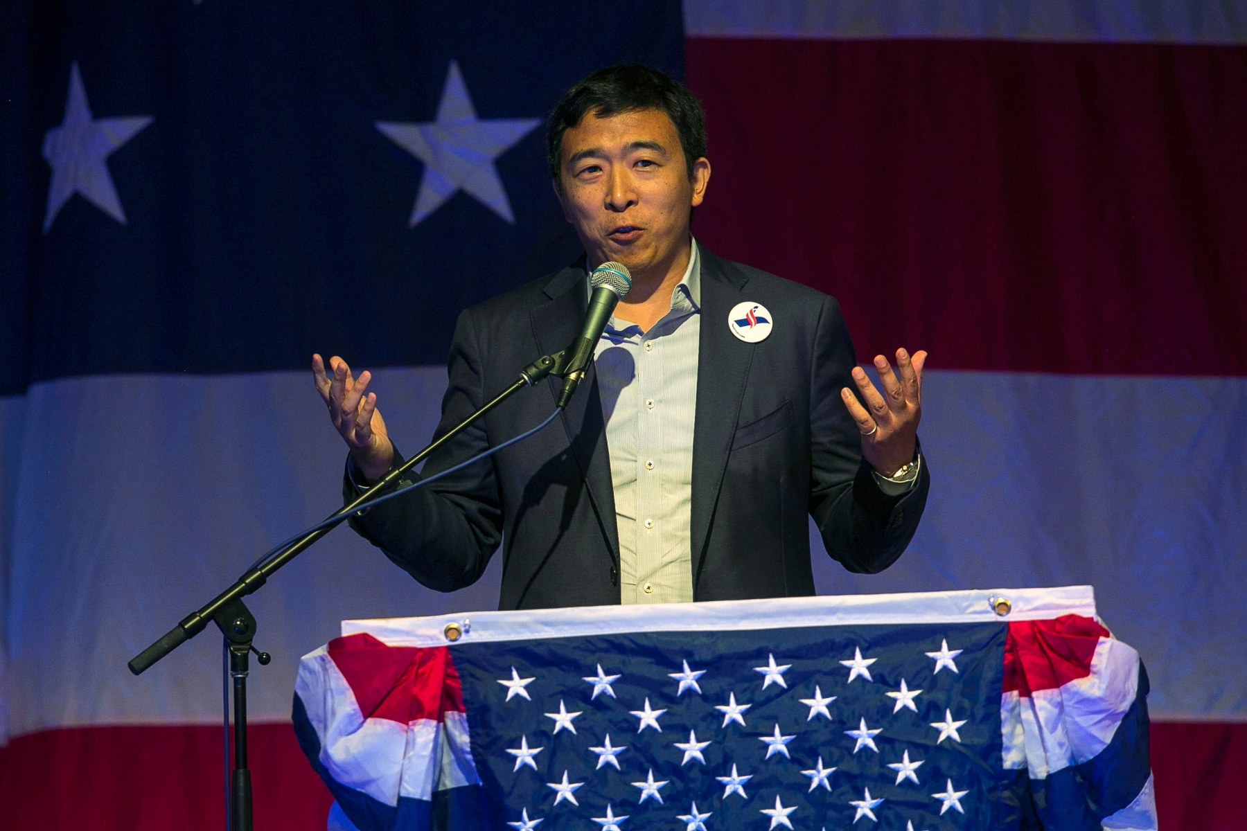 Businessman and Democratic presidential hopeful Andrew Yang speaks at the Iowa Democratic Wing Ding at the Surf Ballroom in Clear Lake, Iowa, Friday, Aug. 10, 2018. (Chris Zoeller/Globe-Gazette via AP)
