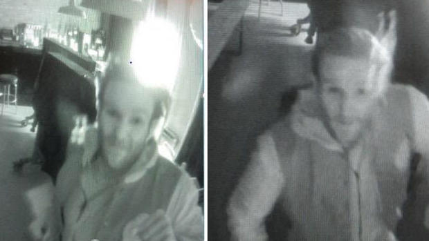 two black and white security camera images of a suspect