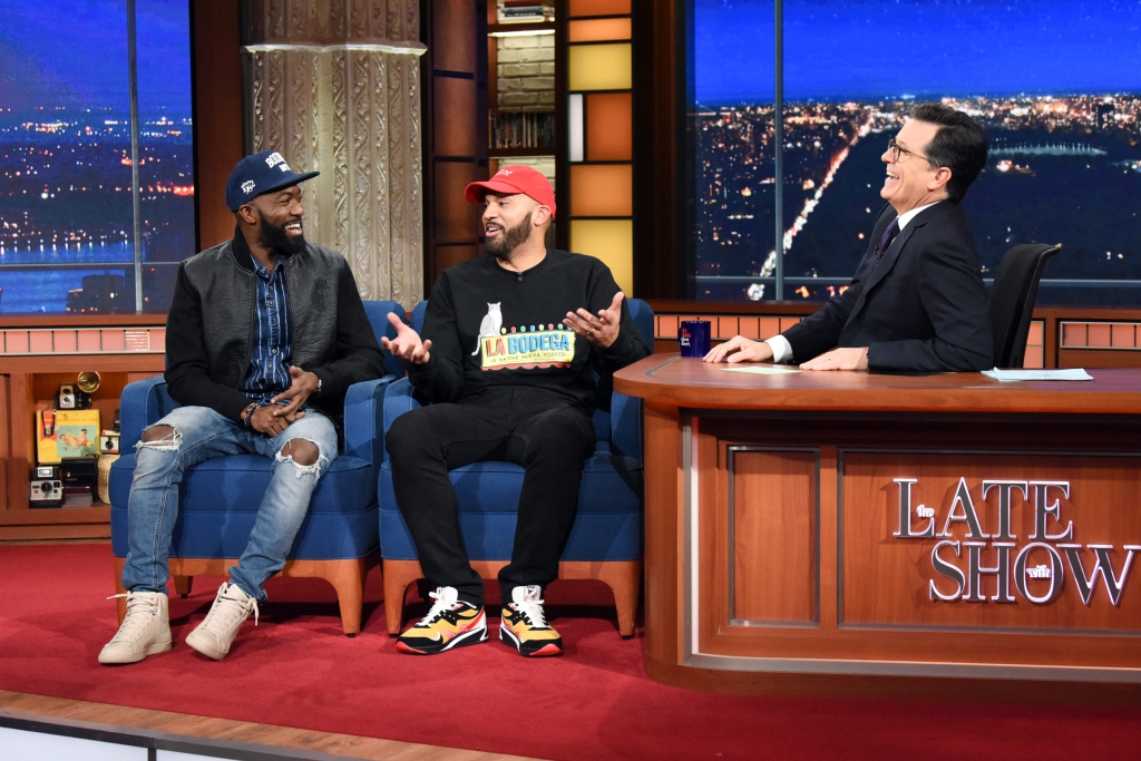 NEW YORK - NOVEMBER 20: The Late Show with Stephen Colbert and guest Desus & Mero during Tuesday's November 20, 2017 show. (Photo by Scott Kowalchyk/CBS via Getty Images)