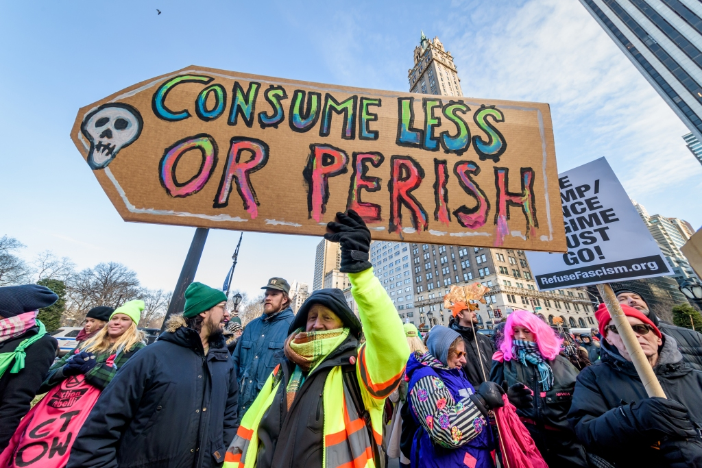 January 26, 2019 - Nwe York, New York, United States - Nine arrests were reported at the US Extinction Rebellion (XR), the first major New York City civil disobedience action of a dynamic, bold new environmental movement. A nonviolent action was organized to temporarily shut down Rockefeller Plaza, a prominent New York City landmark to create awareness of the extreme peril of the climate change emergency through a nationwide day of nonviolent civil disobedience and protest. (Credit Image: © Erik Mcgregor/Pacific Press via ZUMA Wire)